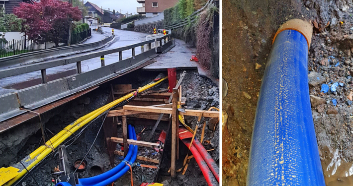 Hovedvannledning fornyet med tettilsluttet rør under Øyjordsveien